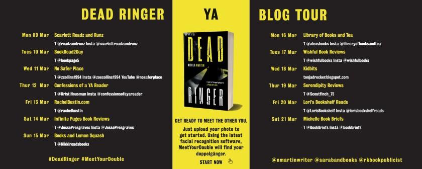 dead ringer YA blog tour poster